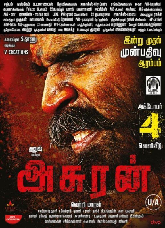 Asuran Chennai Theatre List :  Dhanush, Manju Warrier