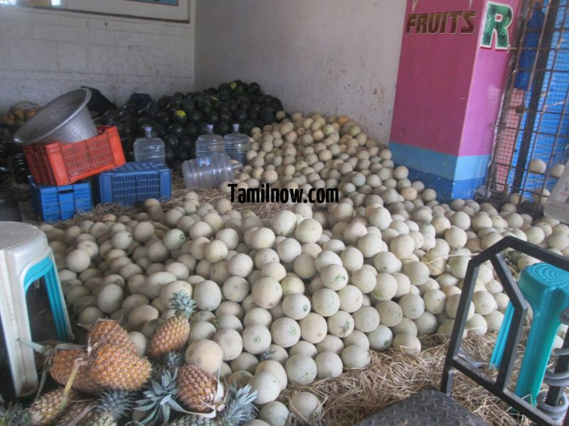 Muskmelons pineapple for sale at koyambedu fruits market 977