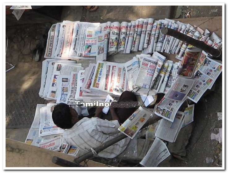 Newspaper vendor near zion koliwada