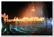 Fountains and illuminated gates