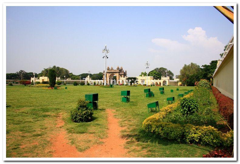 Lawns of mysore palace
